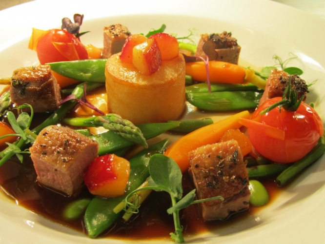 Gressingham Duck, Fondant Potato and Roasted Plums served with Summer Vegetables