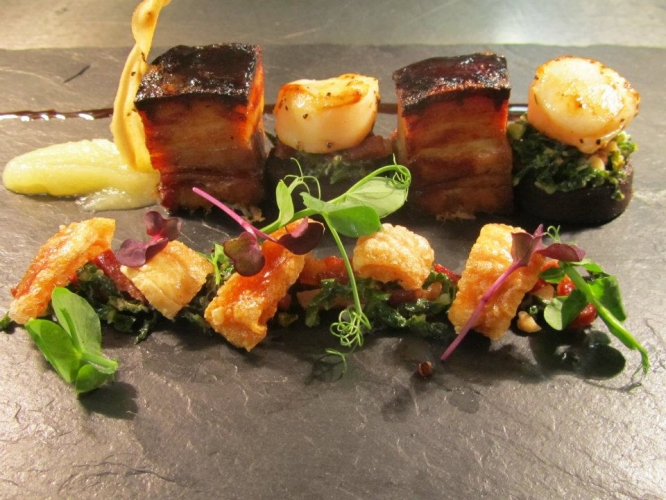 Slow Cooked Pork Belly in 5 Spice & Honey with Apple Purree, Seared Scallops & Black Pudding