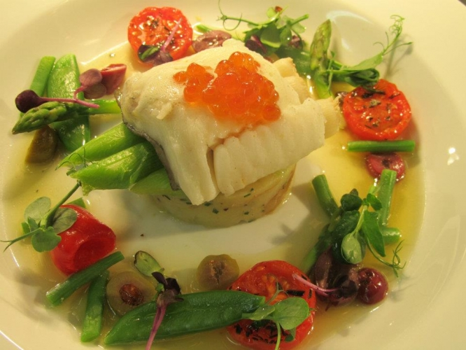 Steamed Turbot, Crushed Royals, Steamed Baby Leeks & Warm Sauce Vierge